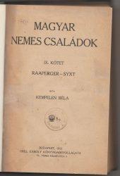 Magyar Nemes Családok IX. kötet RAAPERGER-SYXT
